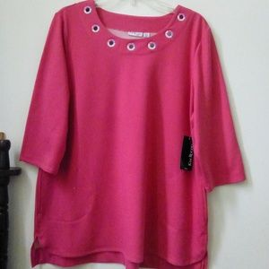 Kim Rogers Top Sweater Pink Size PXL 3/4 Sleeve